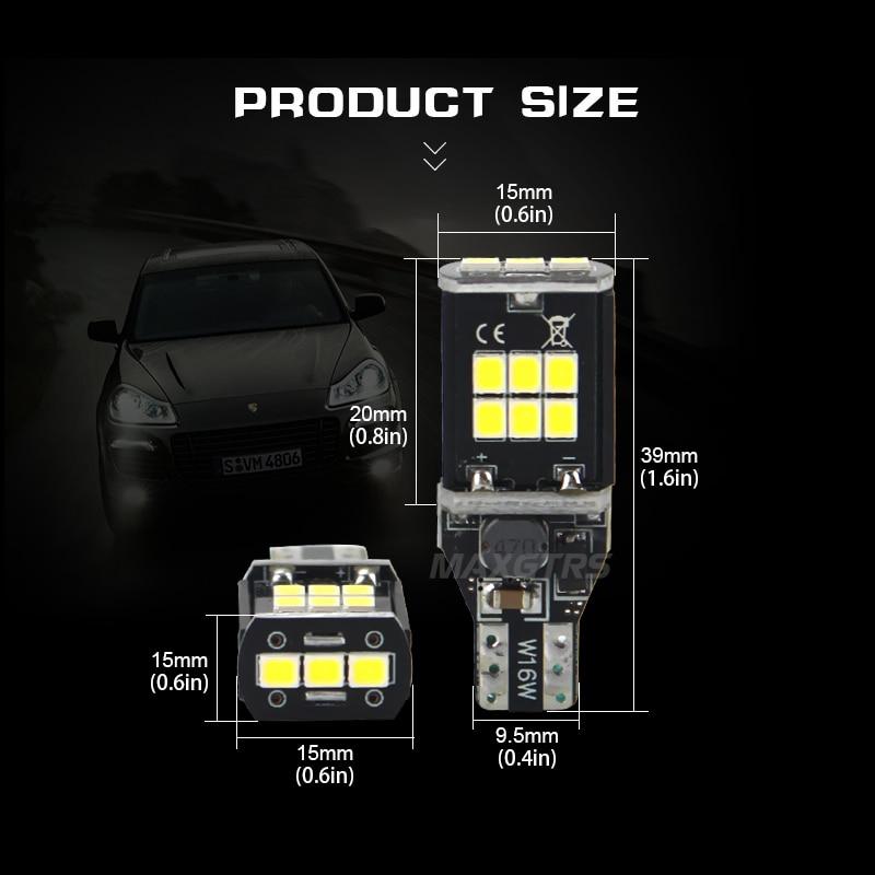 2x MAXGTRS T15 W16W 921 912 Amber / Putih Mobil LED Bulb CANBUS - Lampu mobil - Foto 2