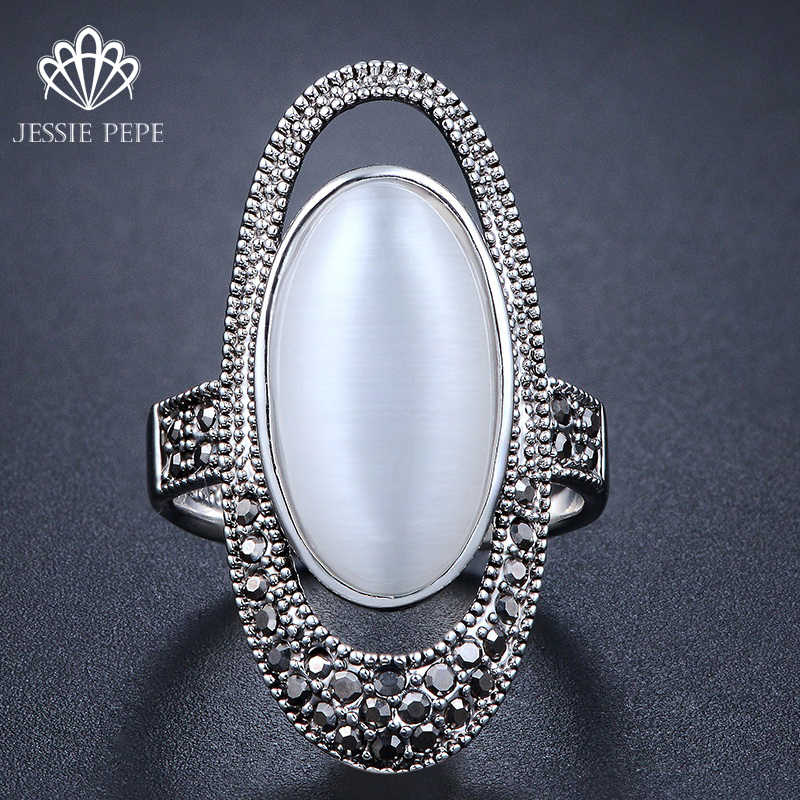 Jessie Pepe Hot Selling Ajojewel Brand Fashion Accessories  Vintage Black CZ White Opal Jewelry Rings For Women#j-AA4601