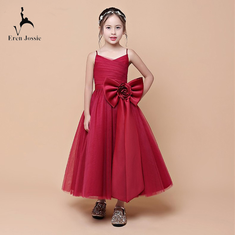 Eren Jossie Dropshipping The   Flower     Girls  '   Dresses   Ankle Length Burgundy Tulle Ball Gown New Style With Bow Good Quality   Dress