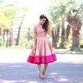 La más nueva Mezcla de Colores Retro de Las Mujeres del Personalizar Falda de La Cremallera de La Cintura de Color Rosa y Fucsia Borde Elegante Falda de Midi Saia Faldas Largas