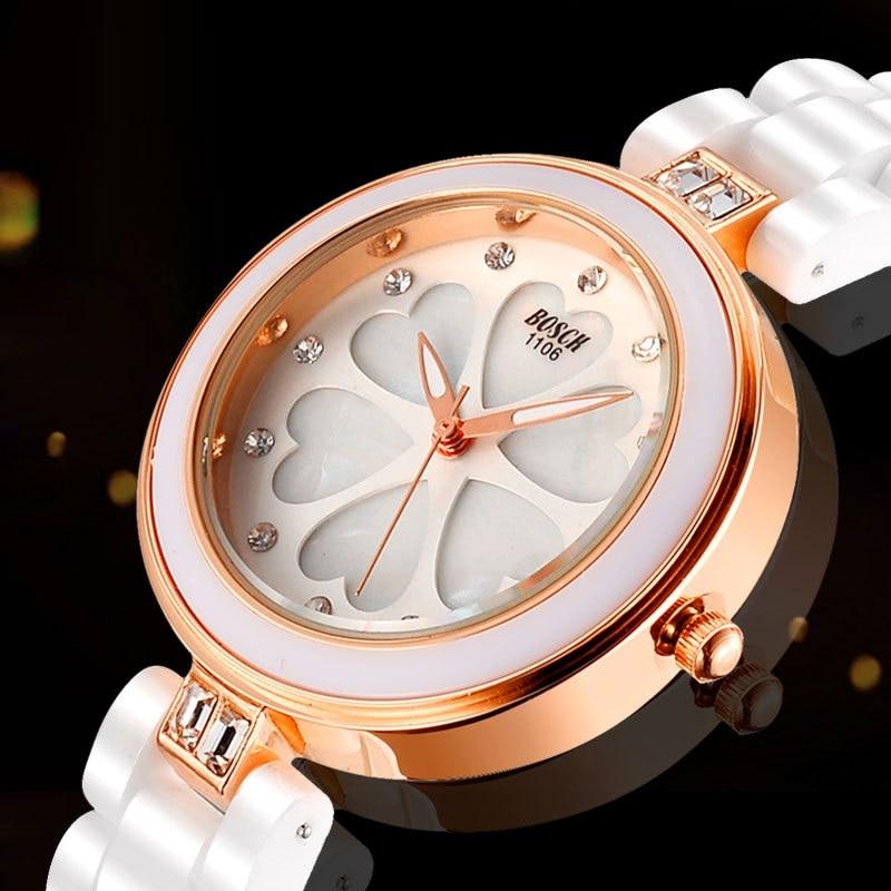 Rose Gold Thin Luxury White Ceramic Watch Water Resistant Women Wrist Watch Ladies Casual Fashion Diamond Clock Relogio Feminino