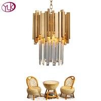 Youlaike Золотая люстра освещение один свет обеденная светодио дный LED кристалл лампы современный кухня Остров Кулон цепи Cristal Lustre