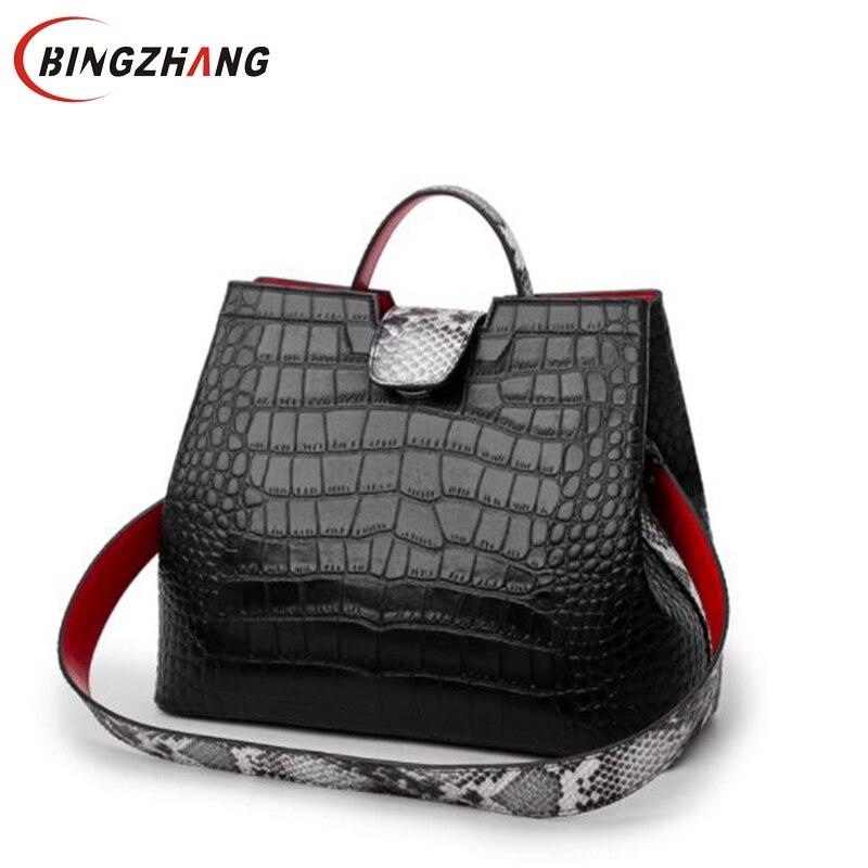Luxury Crocodile Women Handbag Snakeskin Wide Shoulder Strap Bucket Bag Designer Shoulder Bag Buckle High Capacity Totes 2019