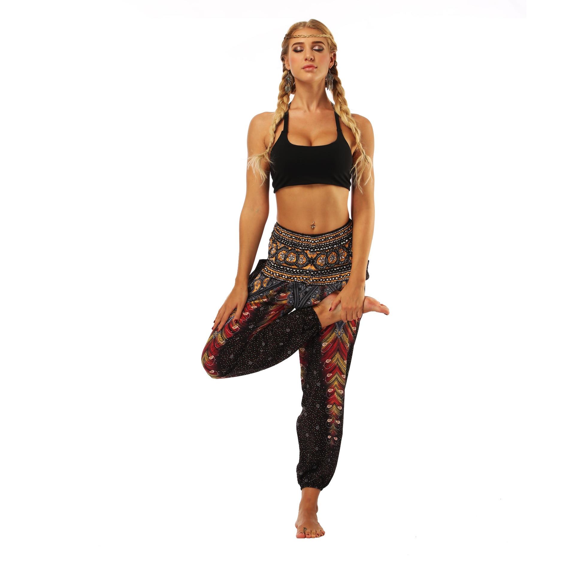 Women Harem Yoga Pant Hippie Rayon Loose High Waist Wide Leg Female Trousers Running Casual Festival Beach Jogger Sports Pants