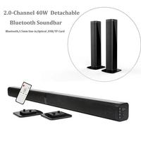 Ultra slim Detachable Bluetooth TV Sound bar 37 inch wireles speaker built in subwoofer soundbar with optical for LED TV