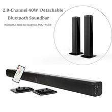 Ультра тонкий съемный Bluetooth Саундбар для телевизора 37 дюймов беспроводной динамик Встроенная звуковая панель сабвуфера с оптическим для светодиодный телевизор