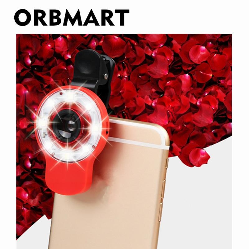 ORBMART 9 em 1 Autodyne Luz de flash bonita + Lente olho de peixe + - Peças e acessórios para celular