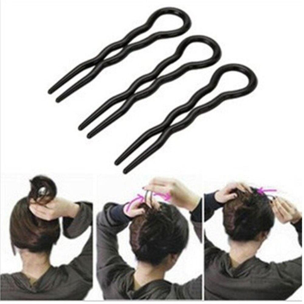 3Pcs New Korea Black  Brown Professional Makeup Hair Maker Accessory Round Toe Black Hair Clip Pins Tool Tools