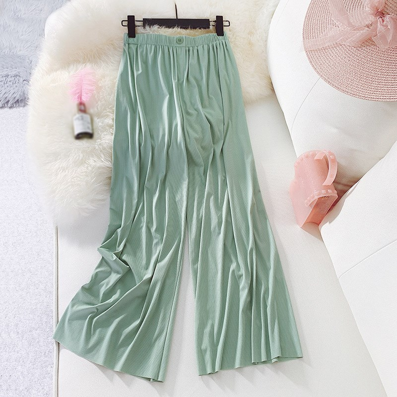 Summer Women Ankle Length   Wide     Leg     Pants   Solid Pleated Trousers High Waist   Pants