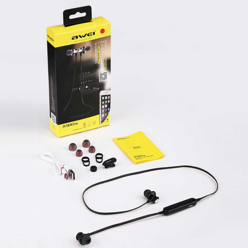 Awei A980BL słuchawki Bluetooth słuchawki z mikrofonem sportowe słuchawki z pałąkiem na kark bezprzewodowe zestaw słuchawkowy słuchawki dla Xiaomi Huawei iPhone