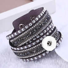 Hot Interchangeable Crystal 083 Rhinestones Velvet Leather Bracelet 18mm Snap Button Jewelry Charm Bangle For Women Gift 39cm