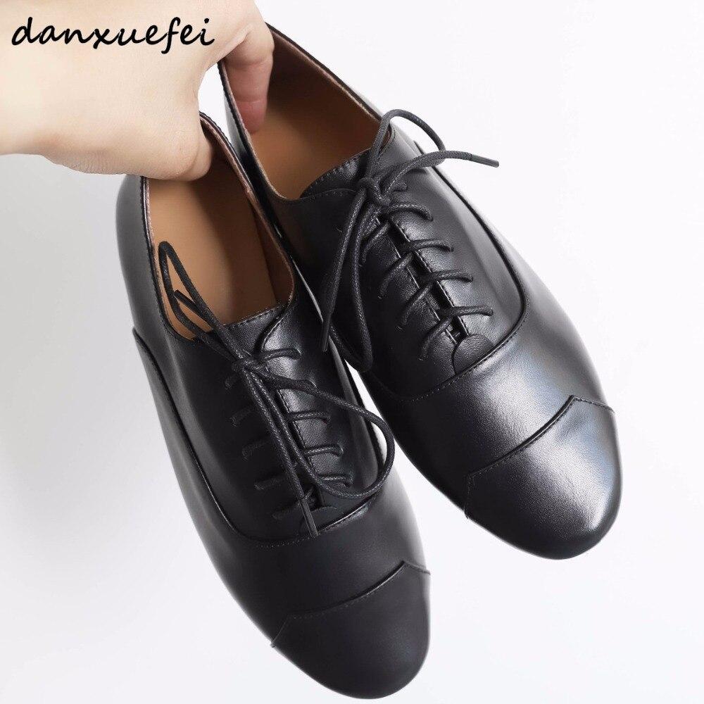 Mocassins Cuir Dentelle Femmes Appartements up Loisirs Chaussures De En Ballet Designer Espadrilles Pour Véritable Marque Confortable Black Oxfords brown uF1JlKcT3