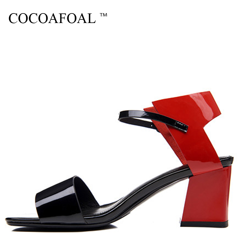 COCOAFOAL Women Red Sandals Cow Leather Fashion Sexy Patent Leather Heel Height Shoes Genuine Leather White Green Sandals 2018 cocoafoal woamn patent leather sandals fashion heel height black white wedding shoes sexy genuine leather pointed toe sandals