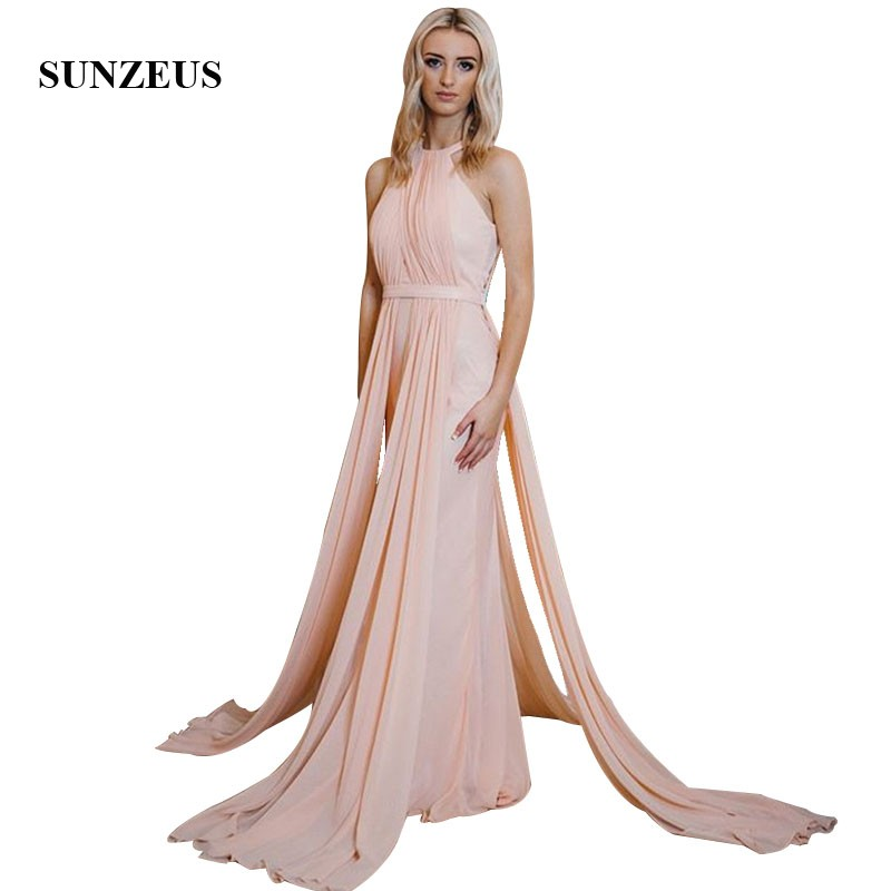 2019 Summer Chiffon   Prom     Dresses   Sheath Sleevesless Long Party Gowns For Women Simple Formal   Prom   Vestidos