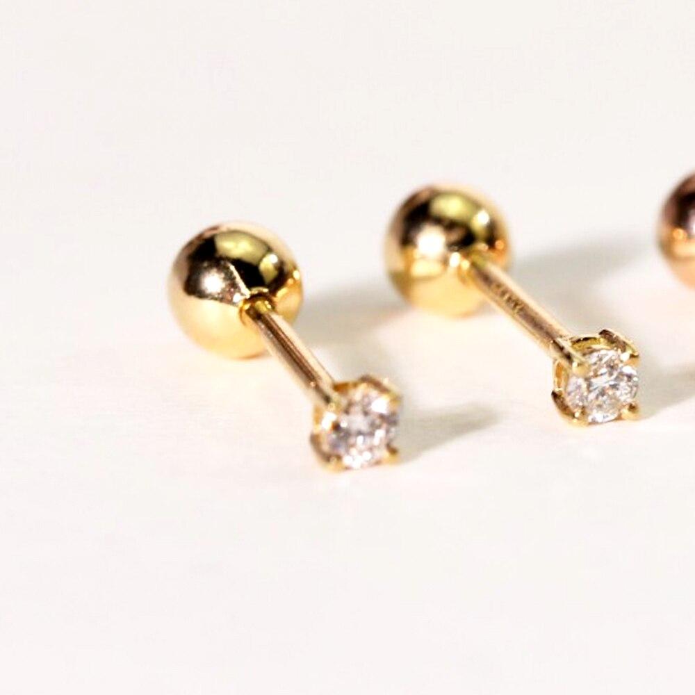 2019 Neue 0.06ct Diamant Schraube Ohrringe Gold 18 Karat Luxus Schmuck Für Frauen Kleine Diamant Zwei Farbe Für Wählen