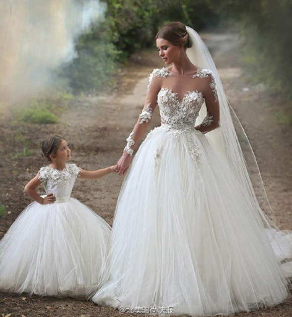 Mother Daughter Dresses for Weddings Family Lookmommy and Me Outfits Dress for Mum and Daughter White  Party Wedding Dresses