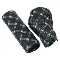hand brake shift Hot Best 2Pcs/Set Faux Leather Hand Brake Shift Knob Cover Gear Case Car Interior Decor (2)
