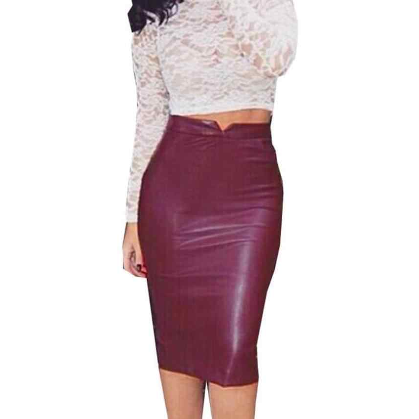 5aa044ce368 ...  4 2018 new Women Leather Skirt High Waist Slim Party Pencil Skirt  Fashion ...