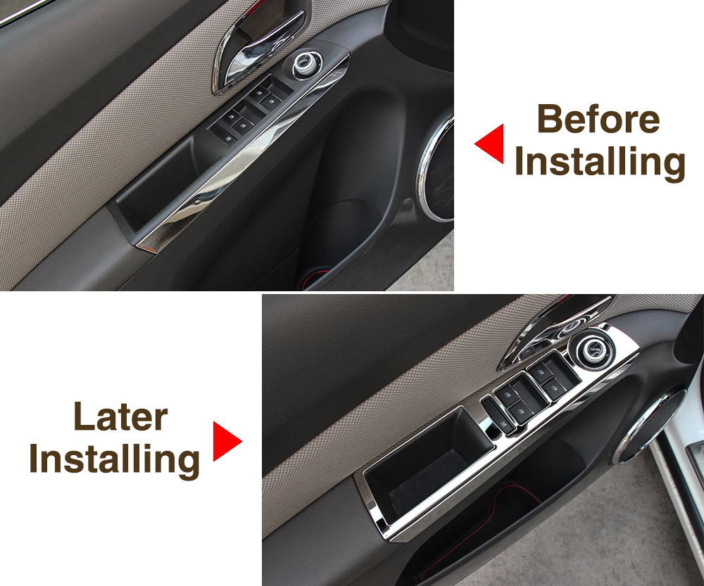 Image 4 - Thie2e Stainless Steel Car Interior Decoration Door Window Switch Cover Trims For Chevrolet Cruze 2009 2013,Car Accessories-in Car Stickers from Automobiles & Motorcycles