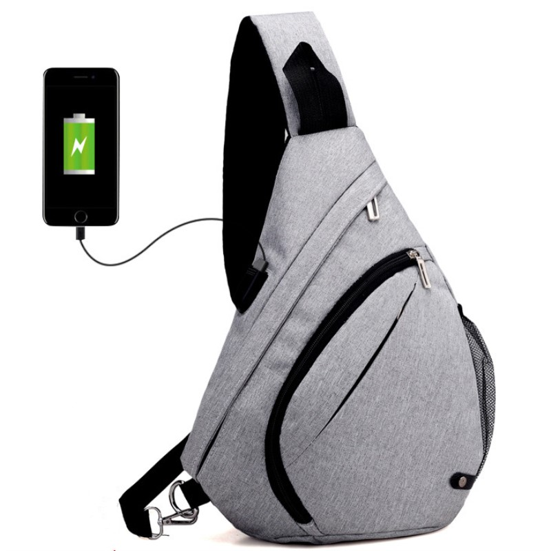 Mens Chest Pack Men&Female USB Charging Waterproof Shoulder Crossbody Bag Water Repellent Anti-theft backpack