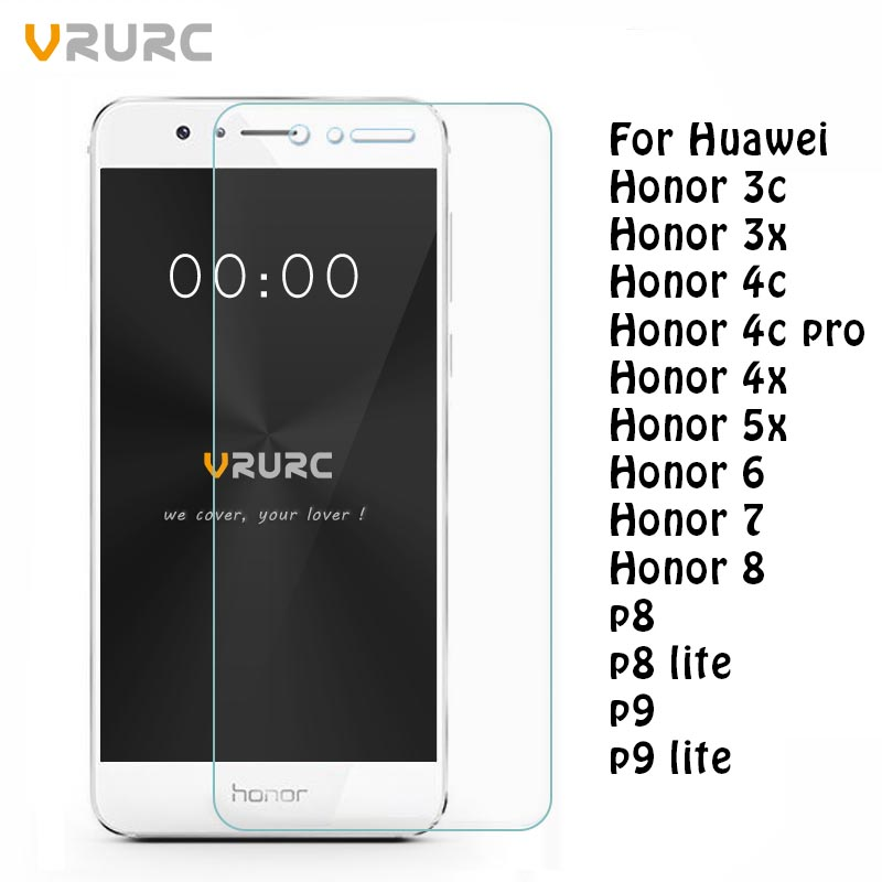 Vrurc Tempered Glass for Huawei P8 P9 lite 2016 Screen Protector Tempered Glass for Huawei Honor 6 7 8 3C 4C Pro 3X 4X 5C 5X
