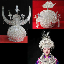 hmong Silver Hat Headwear hmong hat Chinese folk dance acces