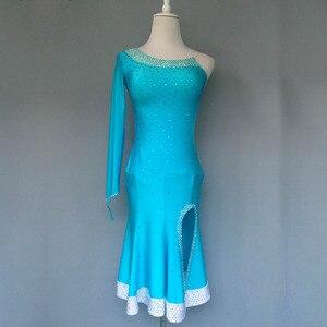 Image 1 - Nuovo stile di costumi di ballo latino sexy di alto livello spandex diamante maniche lunghe del vestito da ballo latino per le donne abiti da ballo latino S 4XL