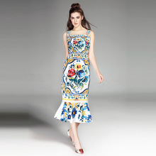 High quality brand design retro print fishtail dress 2018 summer runways spaghetti strap Fashion slim vintage E335
