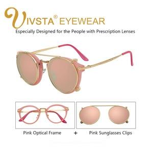 Image 4 - IVSTA Clip On Sunglasses Men Removable Clips Flip Up Glasses Round Steampunk Women Optical Frame Graduated Retro Mirror Lenses