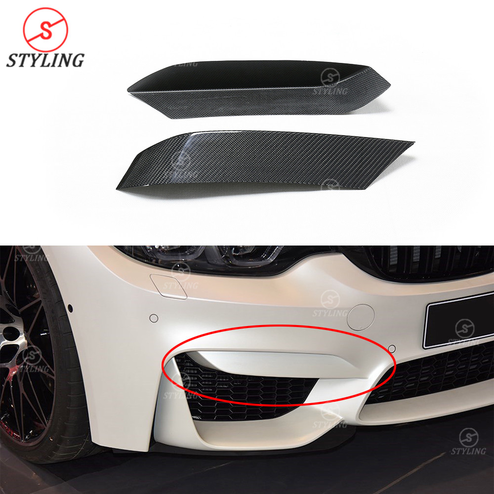 Carbon Rear Side Bumper Splitter Cover Trim For BMW M3 M4 F80 F82 F83 2014-2017