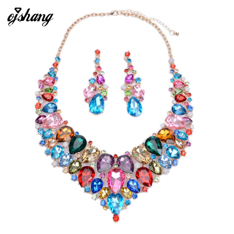 Jewelry Sets Crystal Necklace Earring Blue Red Gem Choker Bijoux Costume ZA Large Fashion Necklaces Pendants