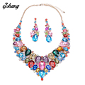 Jewelry Sets Crystal Necklace Earring Blue Red Gem Choker Bijoux Costume ZA Large Fashion Necklaces Pendants Maxi Women 2016