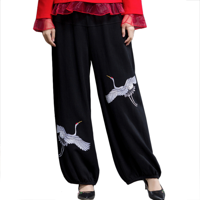 Cotton Linen Black Long WomenTrousers Spring Autumn Embroidery Elastic Waist   Pants   Chinese Vintage   Wide     Leg     Pant   L-XL