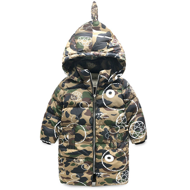 baby boy long winter coat thick kids winter camouflage kids clothes wholesale