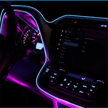JingXiangFeng 1-5M 10 Colors Car Styling DIY EL Cold Line Flexible Neon Interior Decoration Moulding Trim Strips Light For Motor