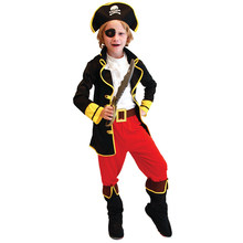 Kids Child Captain Jack Pirate Buccaneer Costumes for Boys Halloween Purim Carnival Masquerade Mardi Gras Outfit