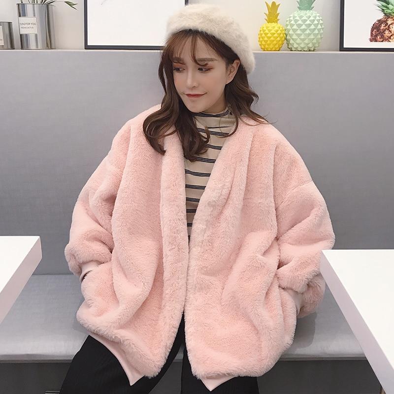 Cute Kawaii Soft Coat Women Fashion Furry Sweatershirt Girls Female Casual Loose Streetwear 2019 Winter Outerwear Tops