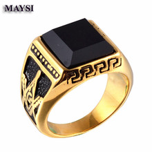 2016 New Solid Gold black onyx titanium steel Men's Signet Masonic Ring religious men jewelry heren ringen rw36a