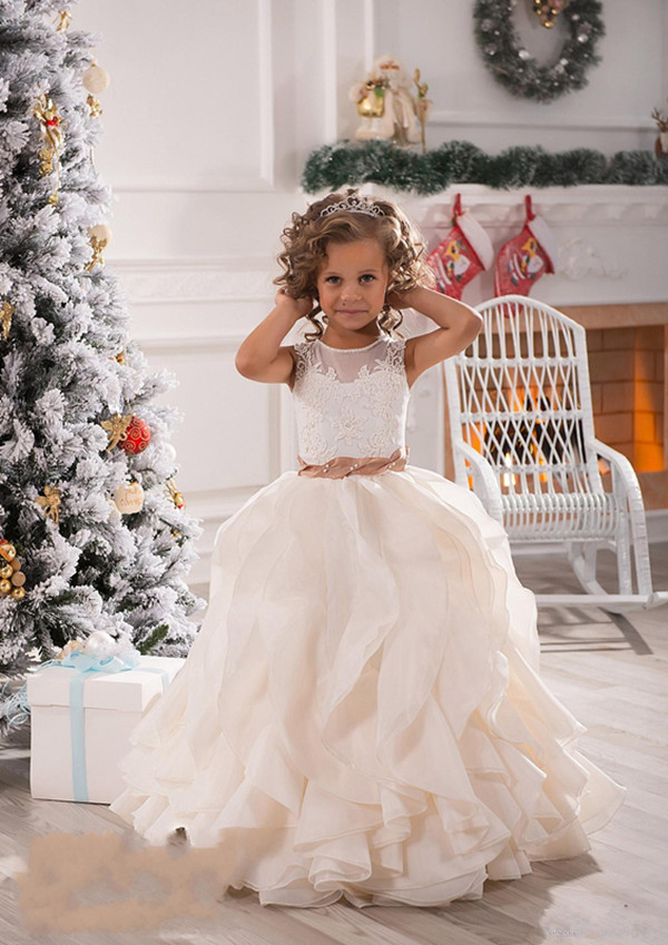 2017 White Ivory Lace Custom Flower Girls Dresses Sheer Neck with Sash Ruffles Party Girls Party Birthday First Communion Gowns two pieces white ivory sheer long sleeves lace flower girl dresses beautiful wedding party mermaid gowns for kids custom made