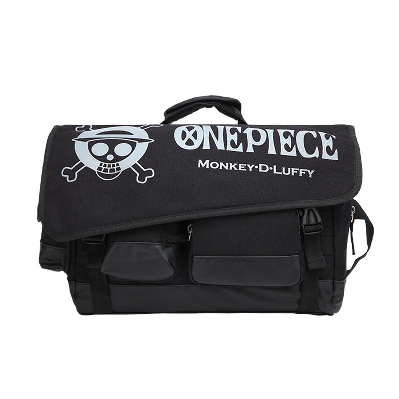 Cartoon Anime One Piece Monkey D Luffy Men Boys Women Girls Hand Bag School Book Bag Cross Body Messenger Bag Canvas Black