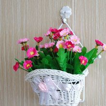 beautiful White Silk Bowknot design artificial flower hanging baskets on door graden for wedding festival party home decoration