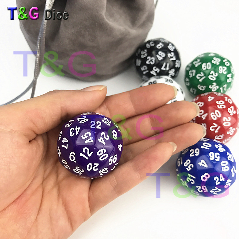 1 Pc T&g High Quality 60 Sided Boardgame Dice D60 Dungeon And Dragons Rpg D&d Dados Math Education Board Games Sports & Entertainment