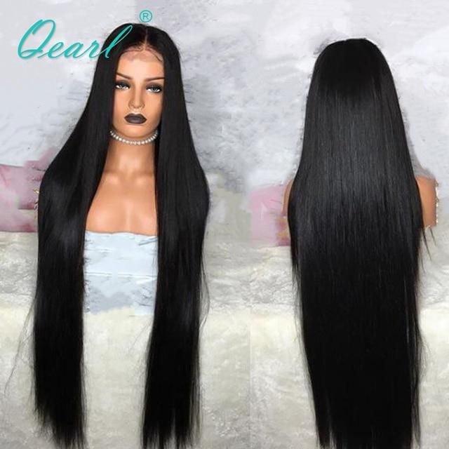 """Perulu Remy Saç Dantel ön peruk Süper Uzun 24 """"26"""" 28 """"30"""" 32 """"Kalın Yoğunluk Ipek düz insan saçı Orta Kısmı 13x4 Qearl"""