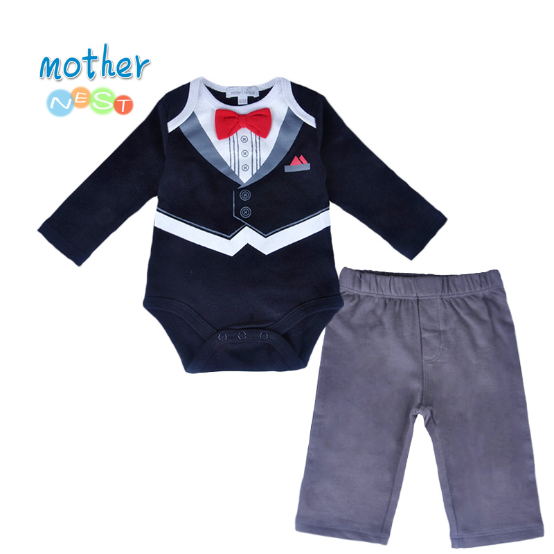 2018 Autumn Cute Gentleman Newborn Baby Boys Infant Rompers+Baby Pants Long Sleeve Christmas Outfit Suit Baby Boys Clothes Set bibicola spring autumn baby boys clothing set sport suit infant boys hoodies clothes set coat t shirt pants toddlers boys sets