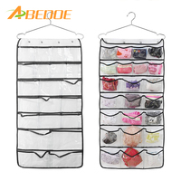 ABEDOE 2 Sided 42 Pocket Wall Door Hanging Organizer Transparent Accessories Hanging Jewellry Home Clothes Bags