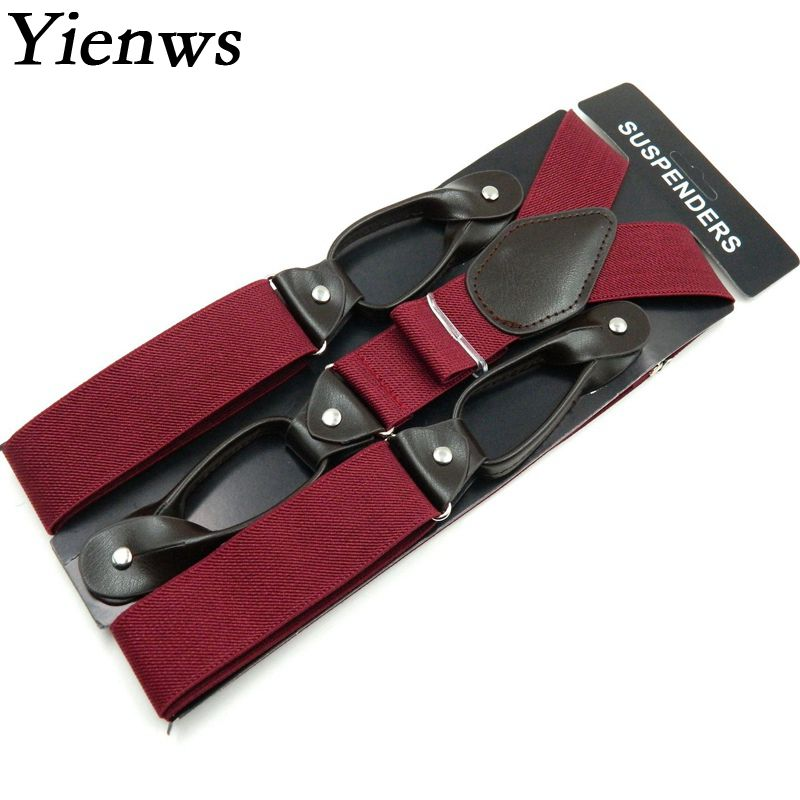 Yienws Fashion Black Braces Men Suspensorio Masculino Plain Button Suspenders For Pants Tirantes Hombre Leisure Jartiyer Sus04 ...