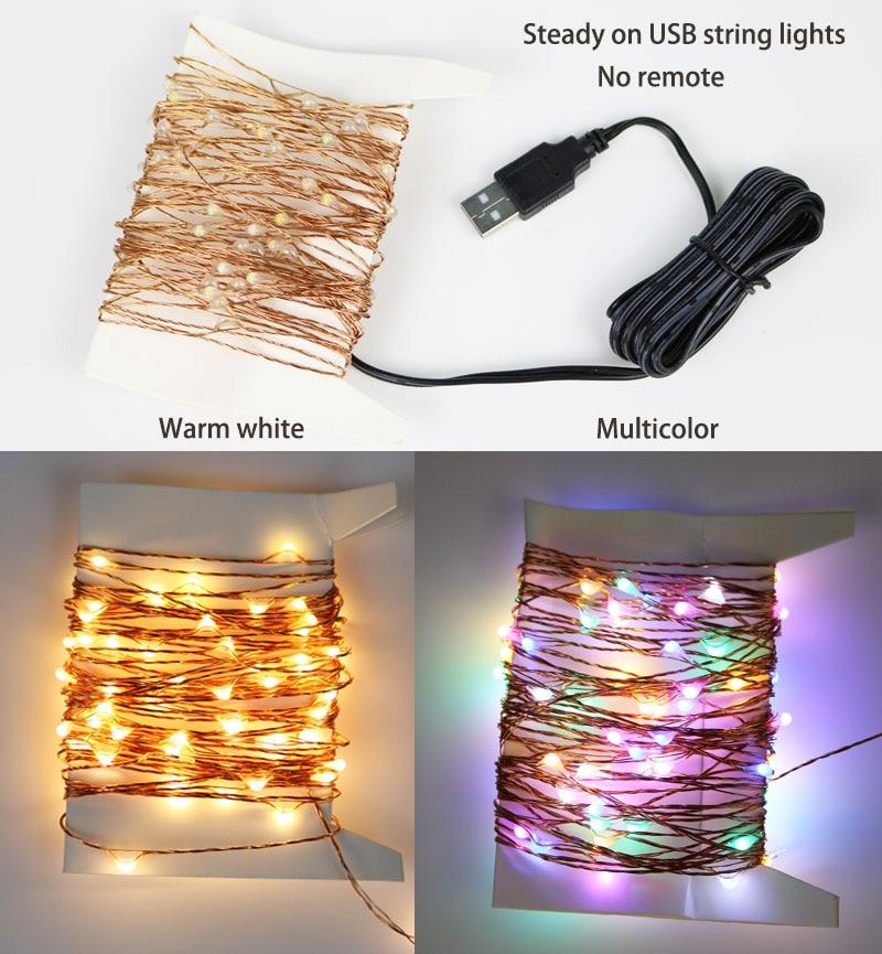 USB LED сымының шамдары 10M 100LED 33FT жылу ақ / - Мерекелік жарықтандыру - фото 4