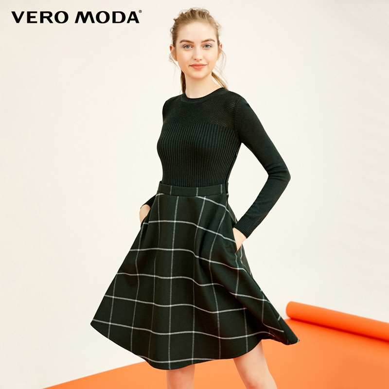 Vero Moda See-through Round Neckline Knitted Plaid Dress |31737D502