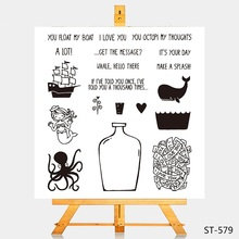 Boat Vase Clear Stamps Octopus Transparent Silicone Stamp For DIY Scrapbooking Card Making Shark Rubber