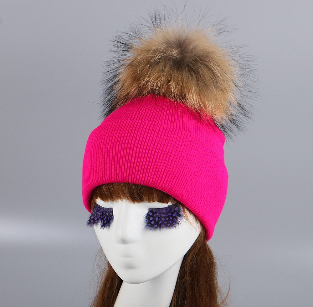 85689a9d3355d7 women brand fur pompom winter hat cap mix colorful knitted casual ...